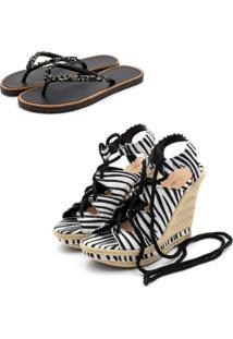 Kit Sandã¡Lia Anabela Salto Alto E Chinela Rasteira Feminino Conforto Zebra - Zebra - Feminino - Dafiti