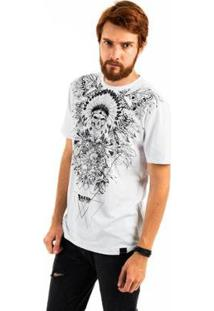 Camiseta Aes 1975 Indian Skull Masculina - Masculino-Branco