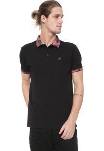Camisa Polo Ellus 2Nd Floor Reta Camuflada Preta
