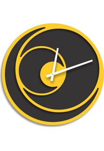 Relógio De Parede Premium Preto Ônix Com Relevo Amarelo 50Cm Grande