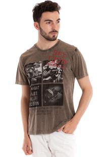Camiseta Básica Konciny Manga Curta Marrom Claro