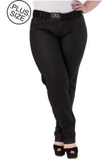 Calça Jeans Reta Plus Size - Confidencial Extra Preto - Tricae