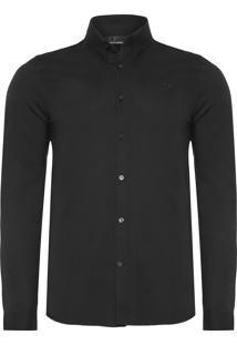 Camisa Masculina Button Down - Preto