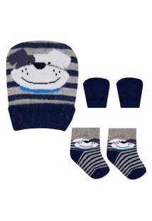 Kit Enxoval Duck - Touca, Luvas E Meias - Cachorrinho Azul