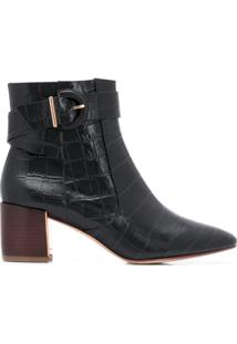 Sophia Webster Ankle Boot Com Efeito Pele De Crocodilo - Preto