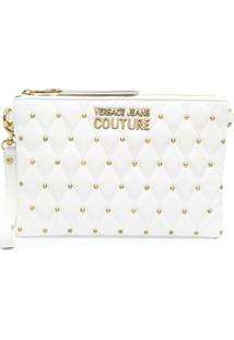 Versace Jeans Couture Studded Logo-Plaque Clutch Bag - Branco