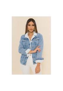 Jaqueta Jeans Forrada Alongada Maggie