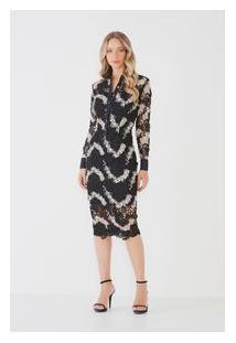 Vestido Midi Bicolor Lace