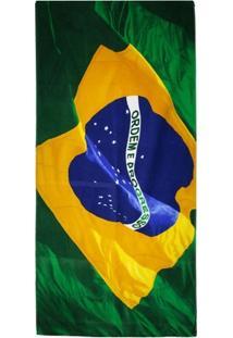 Toalha De Banho Brasil Bouton Veludo Bandeira Do Brasil - Unissex