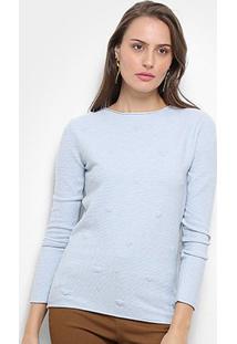 Suéter Tricot Facinelli Coração Feminino - Feminino-Azul Claro