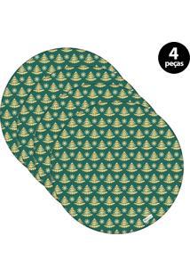 Capa Para Sousplat Mdecore Natal Pinheiros Verde 4Pçs