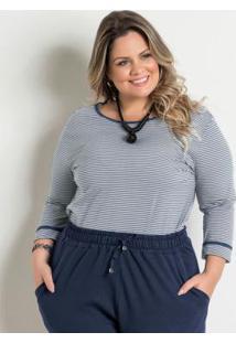 Blusa Listrada Marinho Marguerite Plus Size