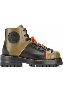 Versace Ankle Boot De Couro Com Logo Medusa E Solado Chunky - Verde