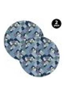 Sousplat Mdecore Abstrato 35X35Cm Azul 2Pçs