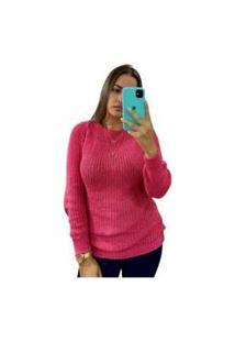 Blusa Feminina De Tricô Grosso Inverno Moda Gola Rosa