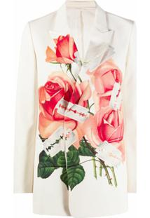 Undercover Blazer Com Estampa De Rosas - Branco