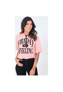 Blusa Manga Curta Capuz Friday Pop Me