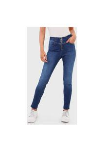 Calça Jeans Dzarm Skinny Estonada Zíper Azul