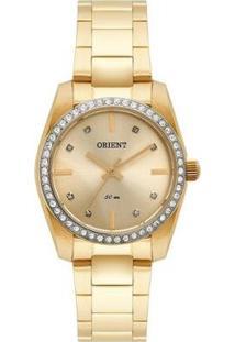 Relógio Orient Feminino Swarovski Analógico - Feminino-Dourado