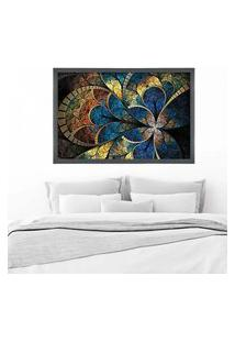 Quadro Love Decor Com Moldura Vitral Azul Grafitti Metalizado Grande