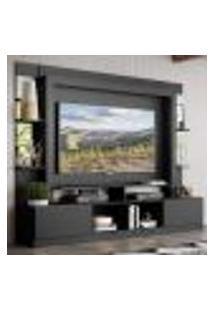 "Rack C/ Painel Tv 65"" Prateleiras C/ Espelho Oslo Multimóveis Preto"