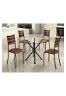 Conjunto De Mesa Com Tampo De Vidro E 4 Cadeiras Istambul I Preto E Marrom