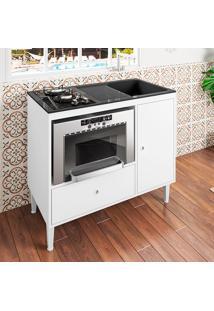 Balcão Compacto Multifuncional Para Cooktop, Forno E Pia Mônaco – Art In Móveis - Branco