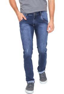 Calça Jeans Fiveblu Slim Stoned Azul