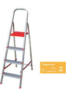 Escada Doméstica De Alumínio 4 Degraus Prata Botafogo