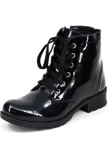 Bota Coturno Magi Shoes Cardaço Preto