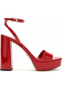 Prada Sandália De Couro Meia Pata - F0011 Rosso