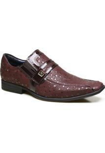Sapato Social Em Couro Com Textura Calvest - Masculino-Bordô