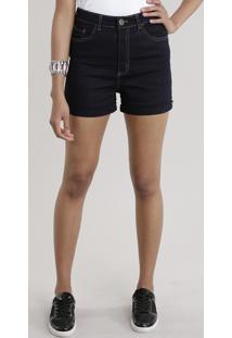 Short Jeans Hot Pant Com Algodão + Sustentável Azul Escuro
