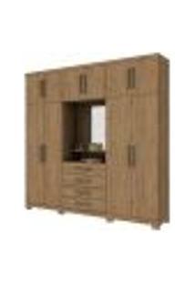 Guarda Roupa Casal Viena Com Espelho 10 Portas Rústico - Henn