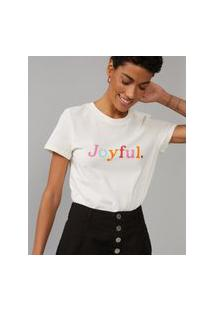 Amaro Feminino T-Shirt Joyfull Color, Off-White