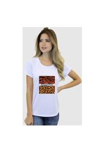 Camiseta Suffix Blusa Branca Basica Gola Redonda Estampa Animal Print