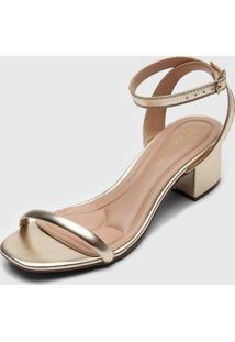 Sandália Via Uno Metalizada Dourada
