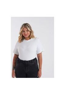 Blusa Em Ribana Com Botões Curve & Plus Size   Ashua Curve E Plus Size   Branco   Gg