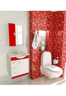 Kit Completo Para Banheiro 60 Cm Com 3 Peças Pratiko Branco E Vermelho Tomdo
