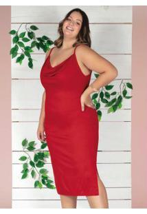 Vestido Midi Vermelho Decote Degagê Plus Size