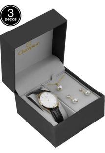 Kit 3Pçs Relógio Champion Cn28296C Marrom/Dourado