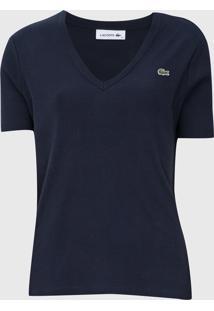 Camiseta Lacoste Canelada Azul-Marinho
