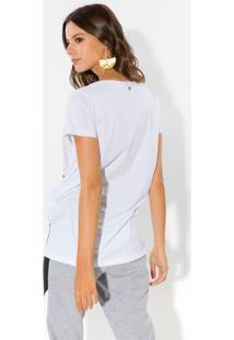 T-Shirt Com Aplicação Lança Perfume Tshirt Branco