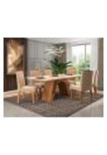 Conjunto De Mesa De Jantar Retangular Com Tampo De Vidro E 6 Cadeiras Estofadas Clara Suede Nude E Off White