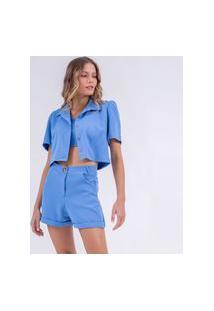 Blazer Camisa Cropped Azul-G Incolor