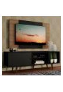 Rack Madesa Dubai Com Pés E Painel Para Tv Até 58 Polegadas - Preto/Rustic 8Nc1