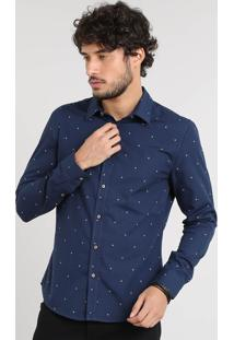 Camisa Masculina Slim Estampada De Âncoras Manga Longa Azul Marinho