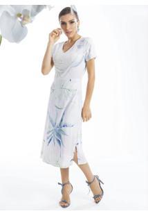 Vestido Midi Estampado Com Decote V Lilás