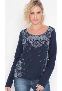 Blusão Em Moletom Floral- Azul Marinho & Cinza- Malwmalwee