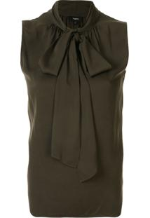 Theory Sleeveless Pussy Bow Blouse - Verde